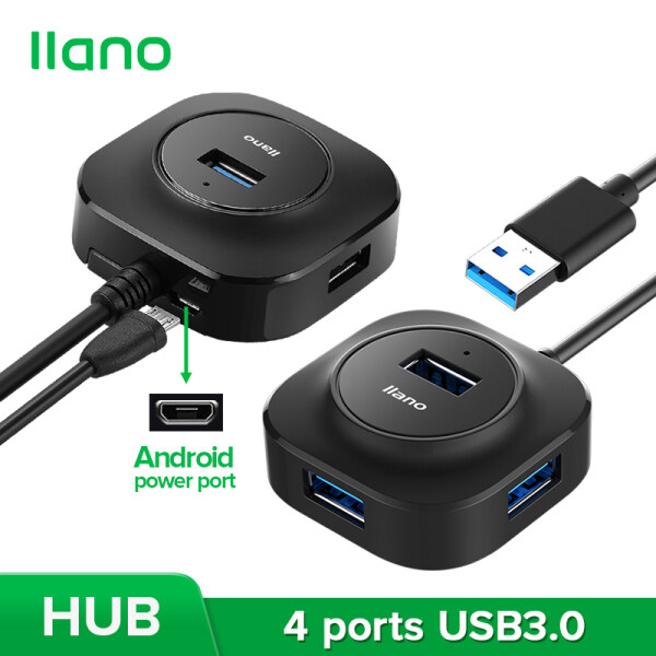 llano USB3.0 Square 4-in-1 Hub with Power Supply Function for Laptop,Phone,Keyboard,U disk and More