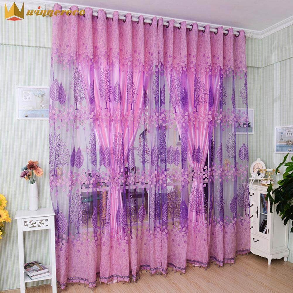 Flower Printing Curtain Yarn Tulle Curtain Window Curtain Panel for Bedroom