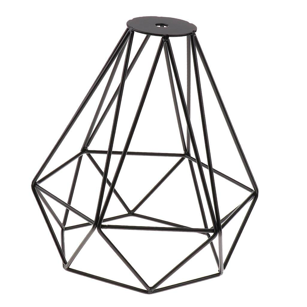 Perfk Vintage Metal Diamond Loft Pendant Ceiling Light Lamp Bulb Cage Golden+Black