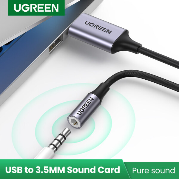UGREEN USB 2.0 to 3.5MM Female Adapter Laptop Sound Card for PS5 PS4 Pro Nintendo Switch Microsoft Surface GO,MicroSoft Surface Pro7 25CM Singapore