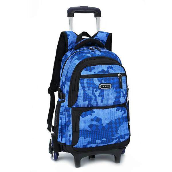 Primary Middle School Students 6 Wheels Of Climbing Stair Trolley Bag Boy Tow Pole Double Shoulder Bag Detachable Dual-use