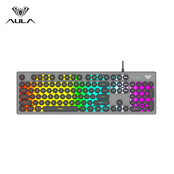 AULA S2056 Mechanical Gaming Keyboard USB Wired Color Backlight Floating Keycap Keyboard 26 keys Professional Gaming Office Keyboard Punk Cool Style Keyboard-Round Keycap/Square Keycap Singapore