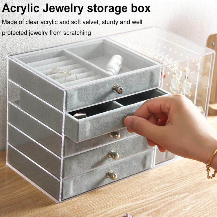 Acrylic Jewelry Organizer 5 Drawers 2 Earring Hanger Two-in-one, Clear Rings Bracelets Necklaces Box for Women, Girls Gift