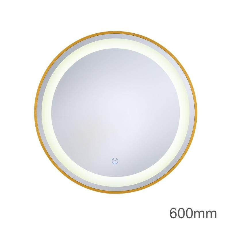MumoLight Mirror Bathroom Types 600mm Round Shape Golden Edge Design Touch Dimmable