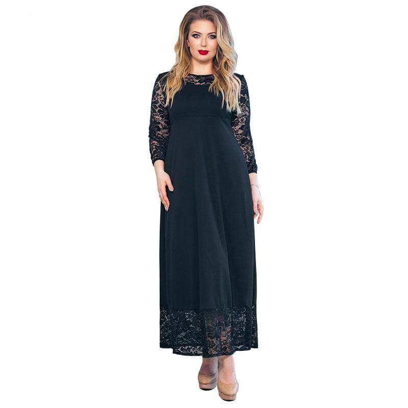 50f775689a ICHOIX 5XL 6XL Fashion 2019 Lace Women Dress plus Size Autumn Long Dress  Elegant Big Size Women Clothing Party Maxi Dresses Vestidos