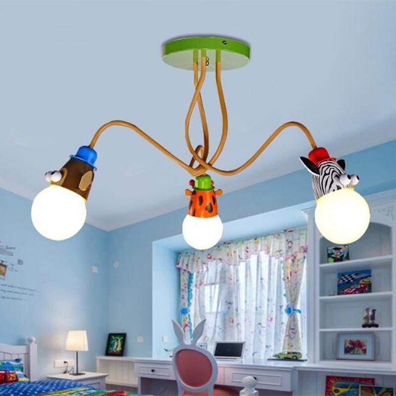 LED Modern Kartun Lampu Plafon Animal 3 Kreatif Monyet Zebra Lampu Dinding Kamar Anak-anak Lampu Gantung