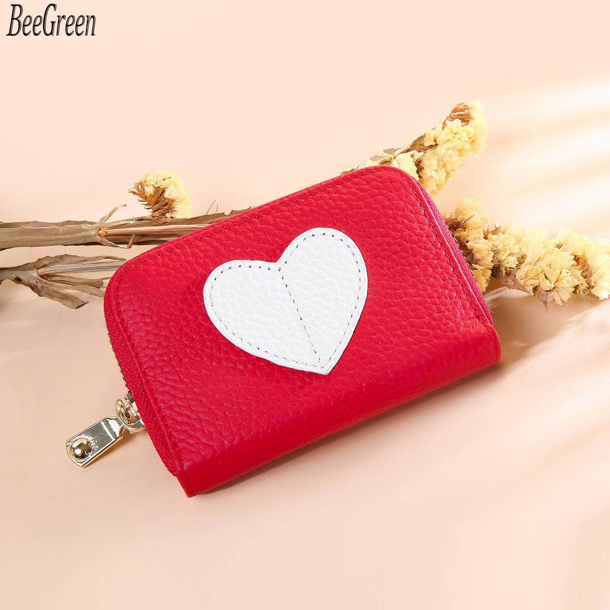 BeeGreen Mini Short Wallet For Women Genuine Leather Heart Shape Decoration Daily Casual Coin Pocket Purse Card Holders Black Red
