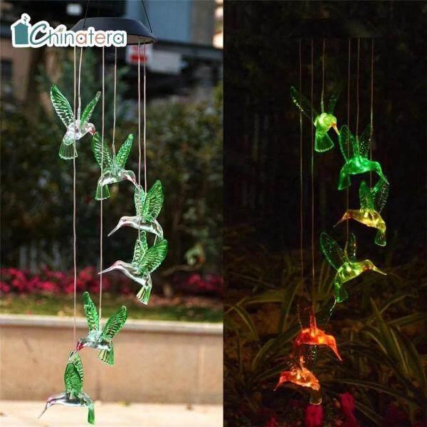 Đèn LED đổi màu Chuông gió chinatera, Đèn treo trang trí ngoài trời lãng mạn trong vườn, chuông gió dùng năng lượng mặt trời