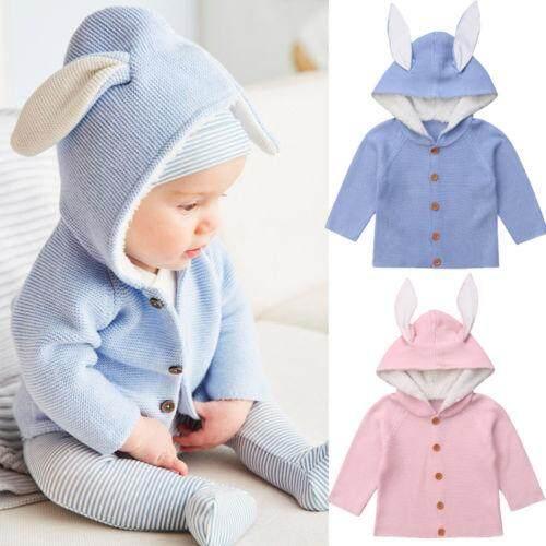 52771da9b Newborn Infant Baby Girl Boy Long Sleeve Hooded Knitted Cartoon Bunny 3D  Ear Sweater Cute Cardigans Coat Outerwear