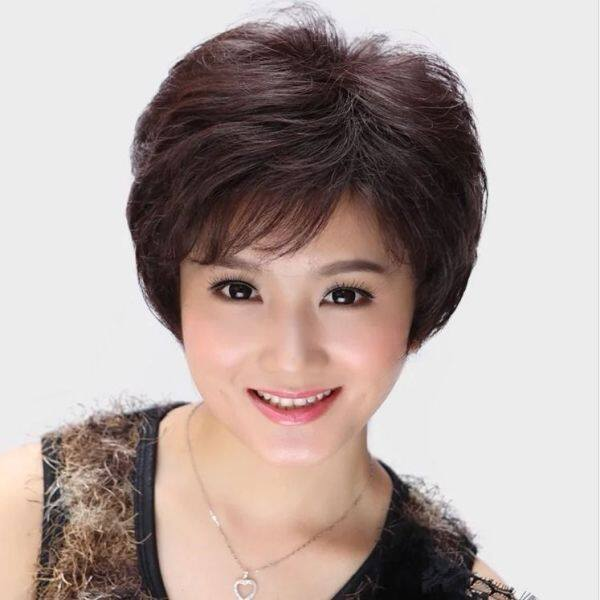 Buy [Wig hair] wigs for women Real hair wigs female hair old mother with short curly hair natural lifelike fluffy head full head maintenance wig female short hair Singapore