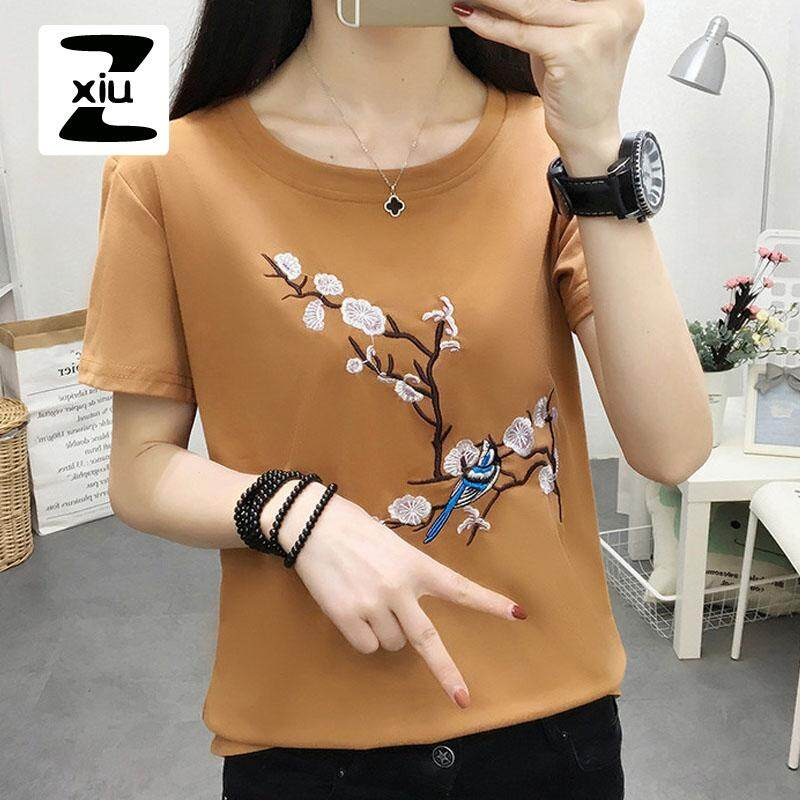 c314099f6e75 ZXIU Women Tshirts New Arrival T Shirt Summer Floral Bird Embroidery Tops  Casual Female T-