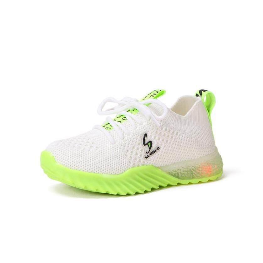 Bé Gái Bé Trai Thoáng Khí Chống Trơn Trượt Thiết Kế Đèn LED Lưới Giày Bé Gái Mềm Đế Giày Đi Bộ Đầu Tiên Xe Tập Đi giá rẻ