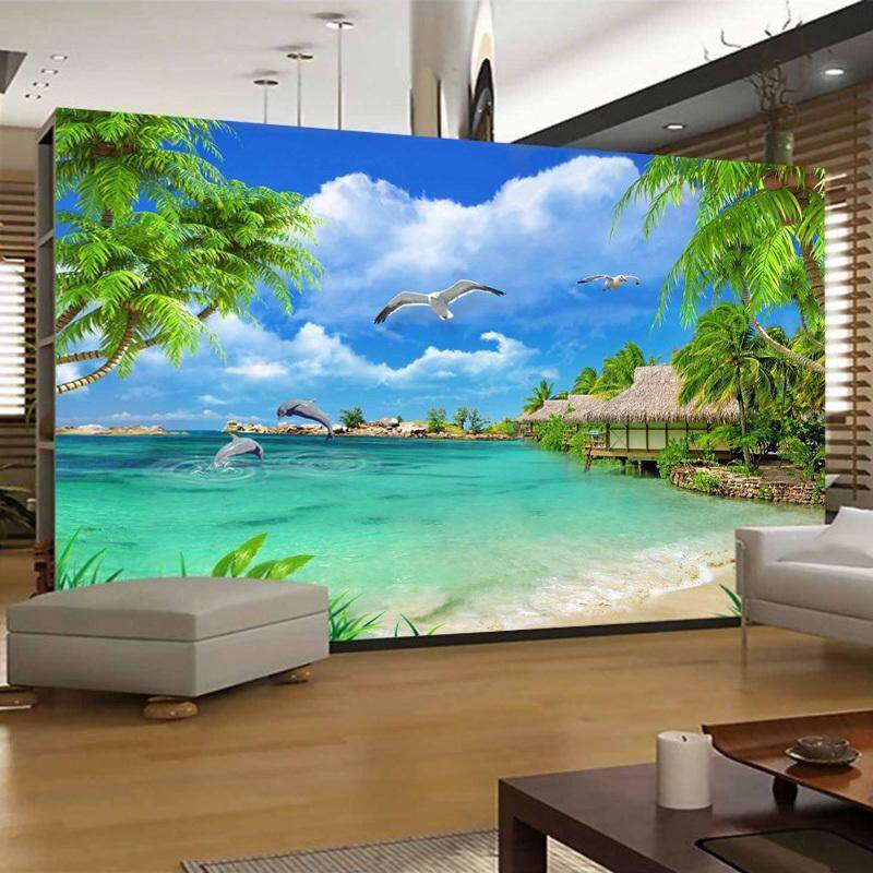 3D Wallpaper Vinyl Wall Sticker Beach Sea View Coconut Trees Wall Mural Living Room Hotel Bedroom Luxury Decor Wallpaper