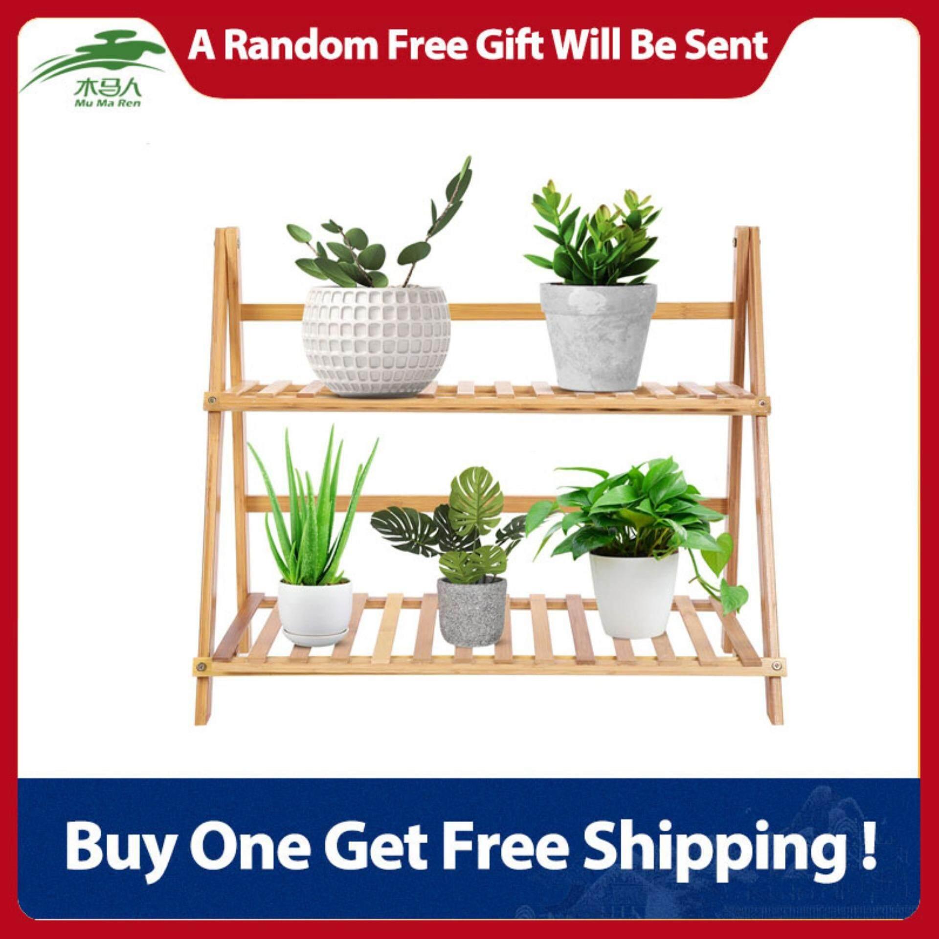 DoubleTier Bamboo Storage Balcony Fleshy Floor Rack Folding Flower Pot Stand Plants Shelf(70CM)