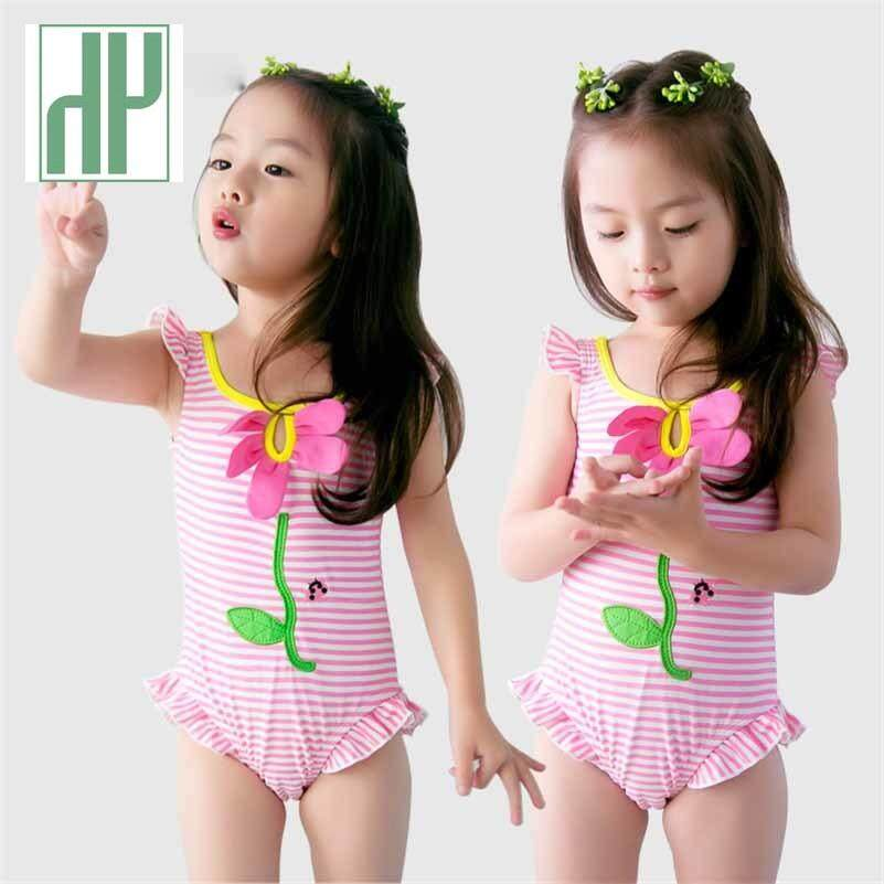 b124c156f20 Baby Girls Swimwear Pink Striped 1-8Y Kids Swimming wear Children One Piece  Bathing Suit