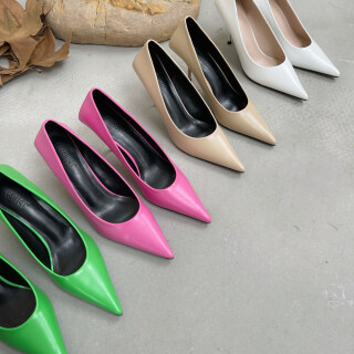 Mới Đến Giày Cao Gót Nữ Công Sở PU Mũi Nhọn Tháng 1 Năm 2021 Đường Phố Chụp Stiletto Gót Slip-On thumbnail