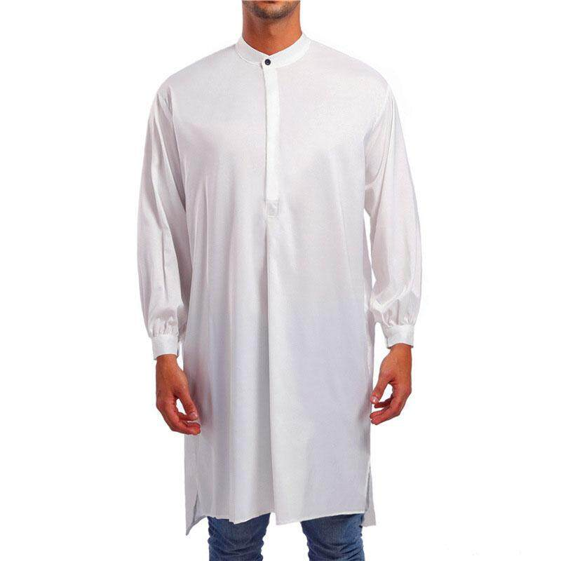 Ishowmall Mens Autumn Solid Color Muslim Thobe Islamic Arabic Clothing Long Sleeve Robe By Ishowmall