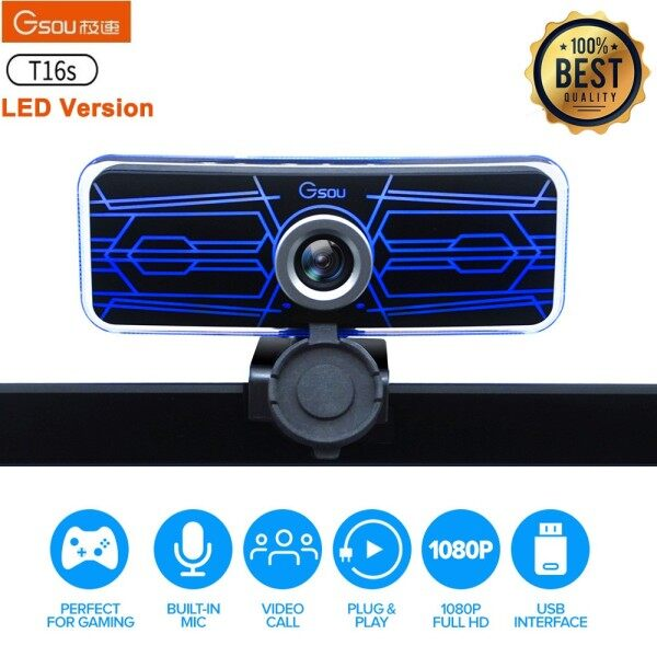 Ready Stock-GSOU T16s LED version 1080P HD Webcam Camera w/ Cover Built-in Microphone HDR Sensor Beauty Effect For Laptop / LCD Monitor for Online Course Broadcast/Conference Video (CE) Camera