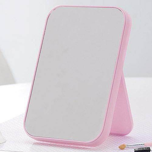 Foldable Desktop Vanity Mirror Basic Standing Mirror with Adjustable Stand - Pink