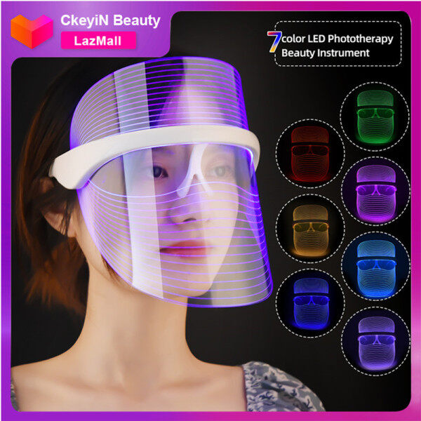 Buy CkeyiN 7 LED Face Beauty Mask, Light Therapy Mask Beauty Instrument Photon Beauty Device for Facial Rejuvenation, Wrinkles Reduction, Anti-Aging MR589W Singapore