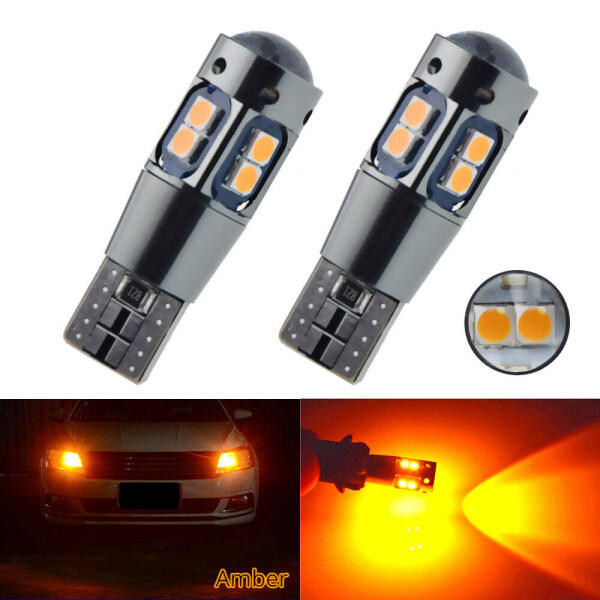 Fang Fang 2 Pieces/Set Amber Yellow Orange Canbus LED Bulb T10 W5W 3030 10SMD Car Side Wedge Light