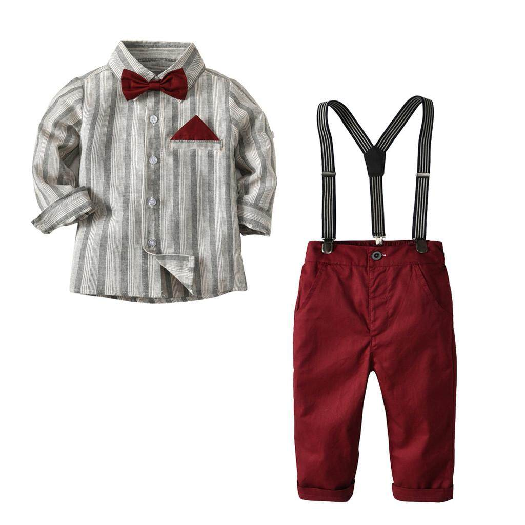 c28aac861 Myapple Toddler Baby Kids Boys Gentleman Stripe Top T-Shirt Plaid Trousers  Pants Set