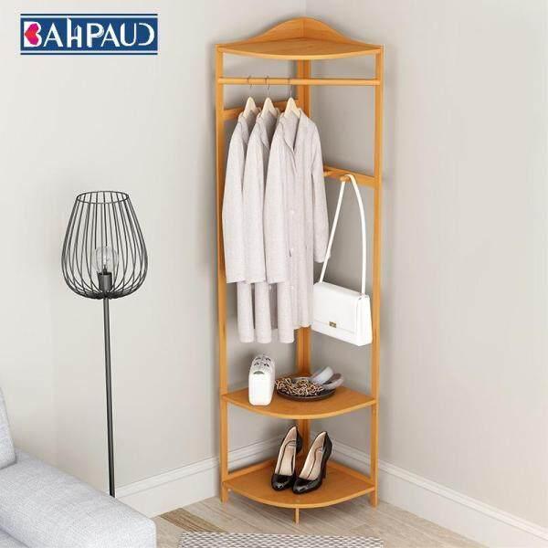 Corner Coat Rack Bedroom Shelf Bamboo Clothes Rack Hanger Floor
