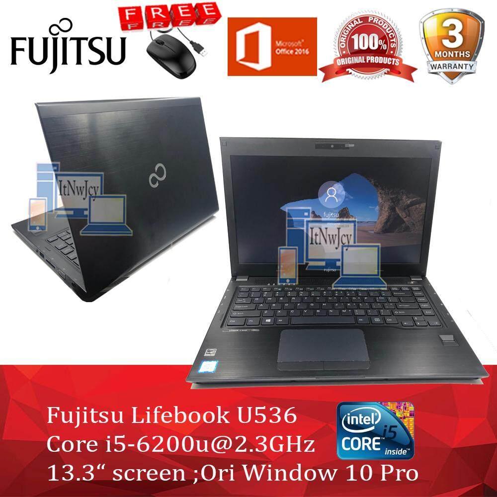 Fujitsu Lifebook U536 Core i5-6200u;4GB/8GB ram;500GB HDD/120GB/256GB/480GB SSD Window 10 Cheap laptop murah refurbished used microsoft office 2016 webcam free mouse Malaysia