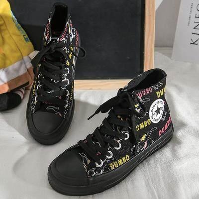 Offer Ưu Đãi Mùa Thu Cao Giày Nữ Mới Graffiti Joker Học Sinh Siêu Lửa Đen Giày Joker Xu Hướng