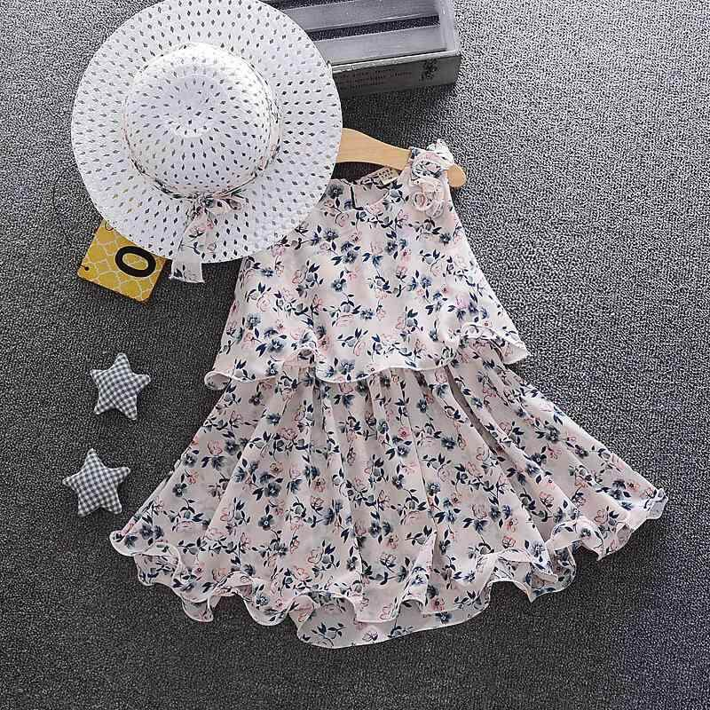 Baby Girl Fashion Summer New Korean Floral Dress+hat By Ropalia Store.