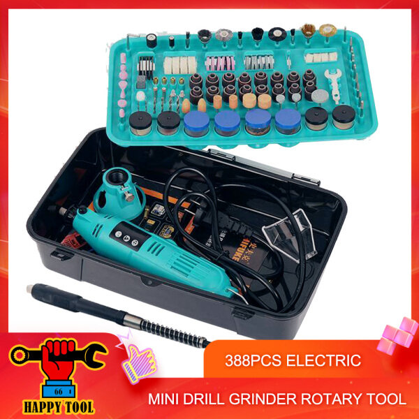 66 Happy Tool Ready Stock 388pcs Mini Electric Drill Grinder Set / 388pcs Set Mini Drill Grinder Rotary Tool Variable Speed Polishing Power Tools / Electric Mini Grinder - with 3 pin plug adapter