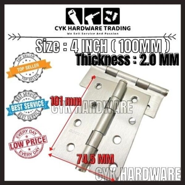 READY STOCK!!!! 3 / 4 INCH (75MM / 100MM) Stainless Steel door hinges (1 PAIR)