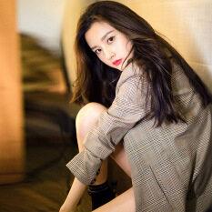 Áo Khoác Kẻ Ca Rô Cổ Điển Phong Cách Hồng Kông Nữ Áo Blazer Thường Ngày Xuân Thu 2020 Sang Trọng Mới Phiên Bản Hàn Quốc