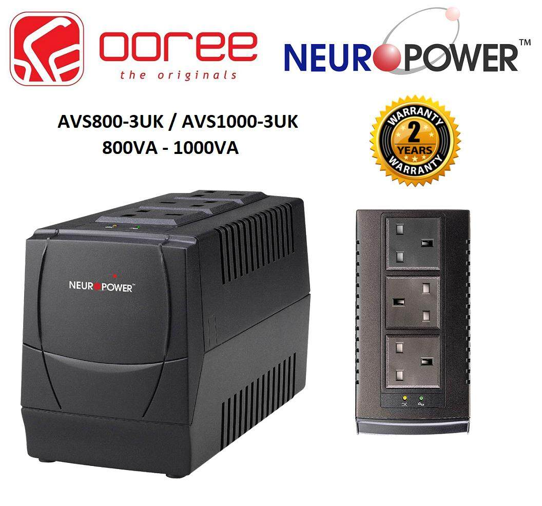 NEUROPOWER AVR 800VA (AVS800-3UK) & 1000VA (AVS1000-3UK) AUTOMATIC VOLTAGE  STABILIZER WITH 5V USB CHARGER & 3 BRITISH UK OUTLETS UPS  NEURO POWER