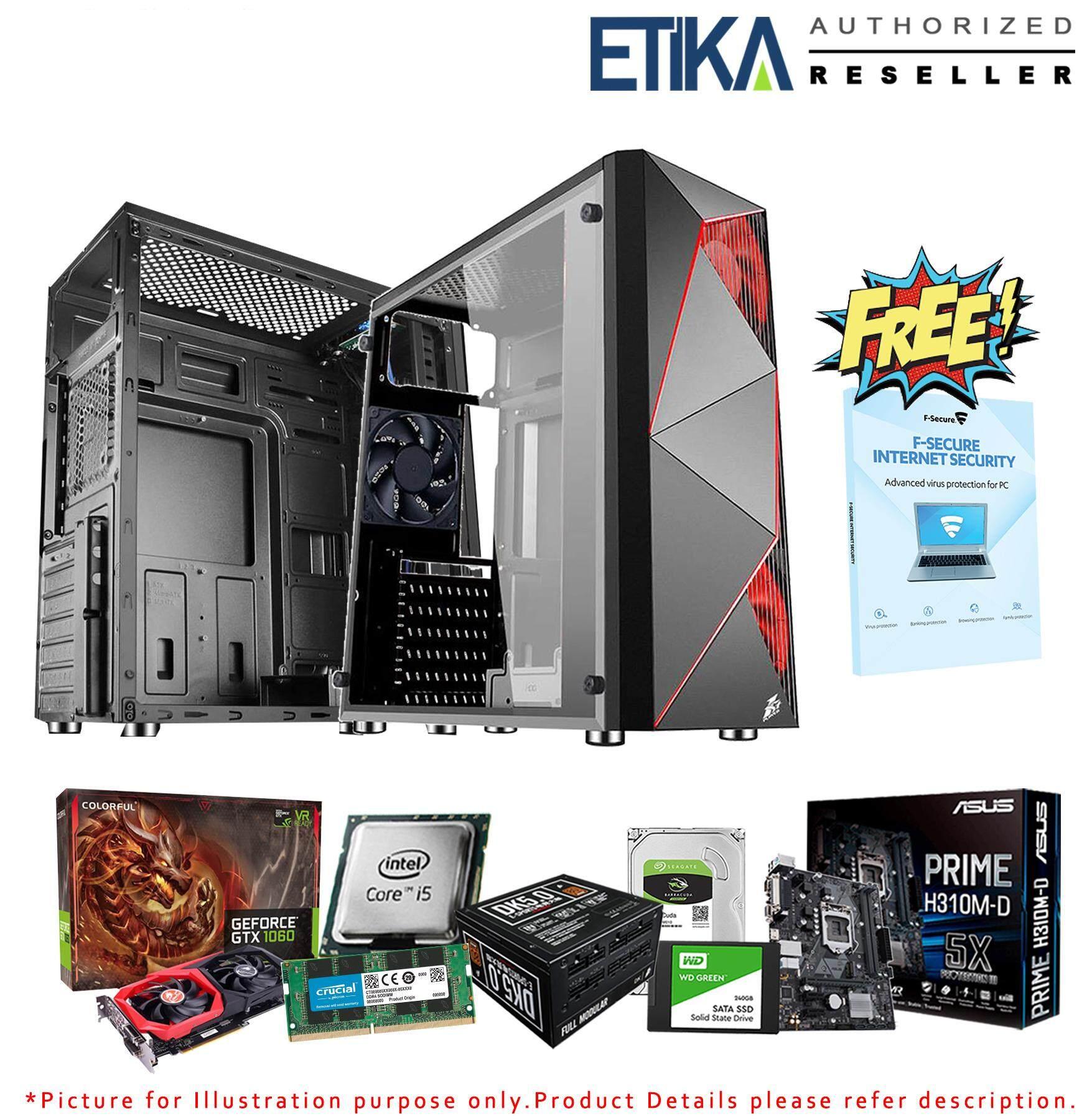 Diy Gaming Pc Package - Intel I5-8400, 8gb Ddr4, 240gb+1tb Hdd, 6gb Gtx1060 By Etika Komputer S/b.