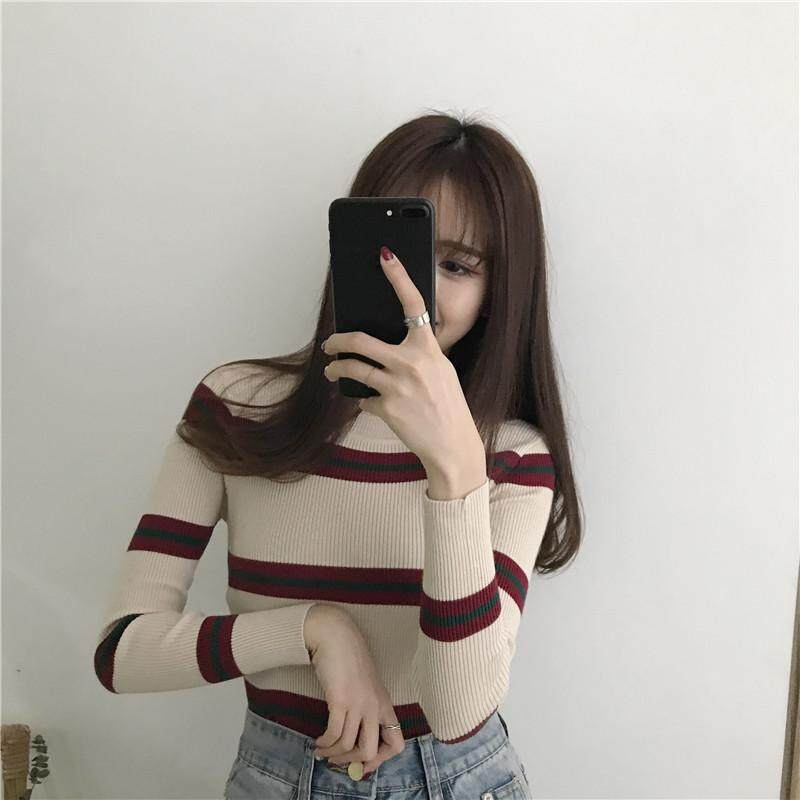 956c38af68  YOYO Women clothing Round neck Knitted top slim stretch long-sleeved  sweater