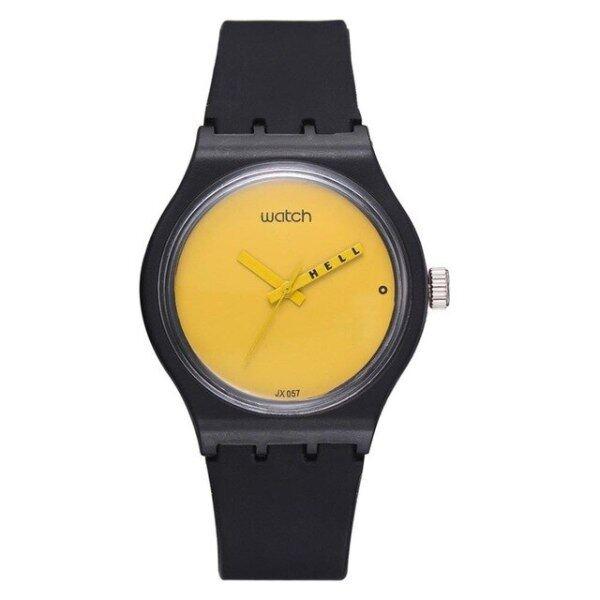 Silicon Strap Analog Women Watches Quartz Wrist Watch Sport bayan kol female Solid color cartoon black and yellow new clock B40 Malaysia