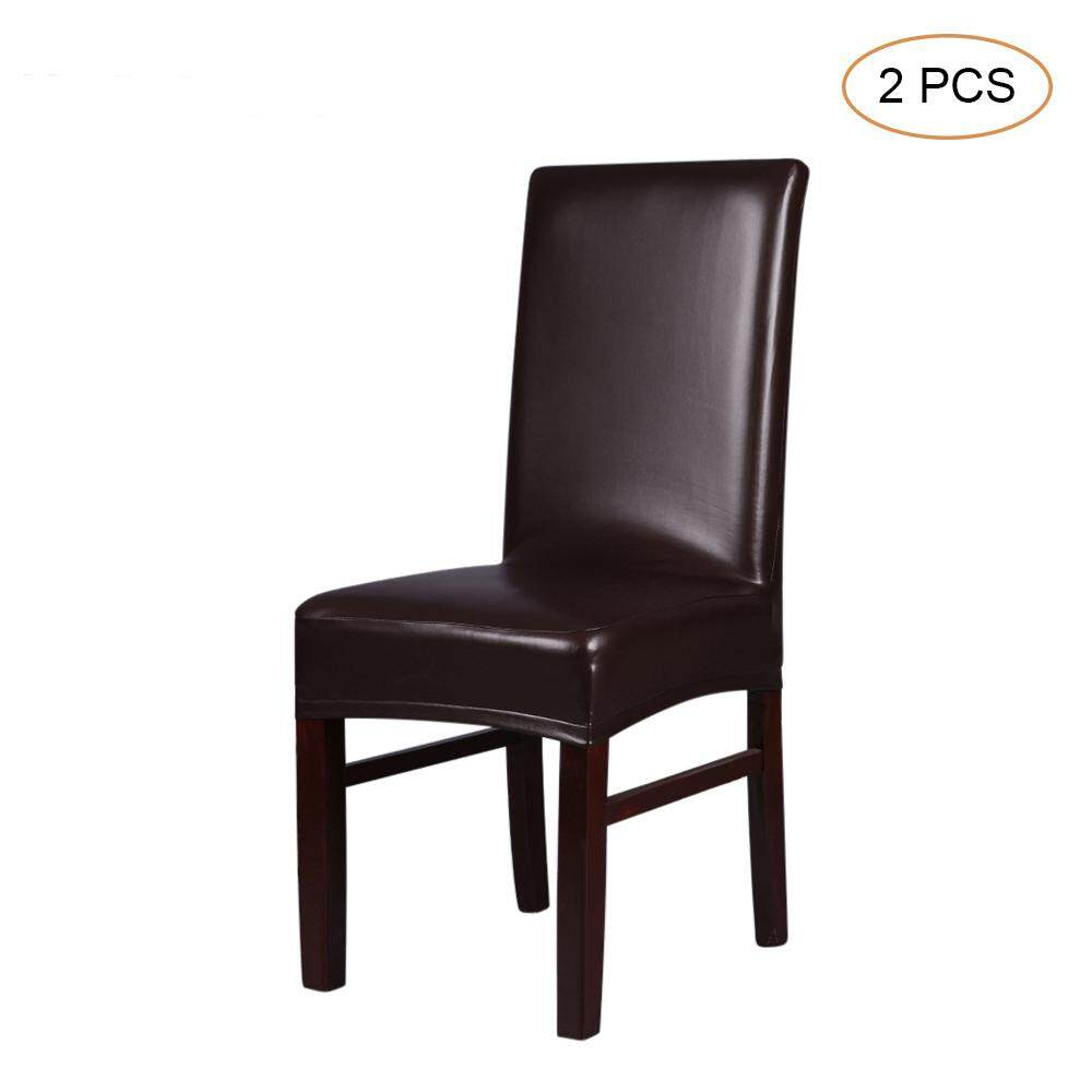 2pcs One-piece PU Leather Stretchable Dining Chair Back Seat Covers Waterproof Oilproof Dustproof Ceremony Chair Slipcovers Protectors--Brown