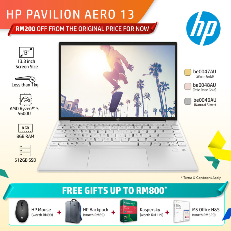 HP Pavilion Laptop 13-be0047AU / 13-be0048AU / 13-be0049AU 13.3 WUXGA (AMD Ryzen 5 5600U, 512GB SSD, 8GB, AMD Radeon Graphics, W10H) - Gold/Rose Gold/Silver [FREE] HP Backpack + Pre-Installed with Microsoft Office Home and Student Malaysia