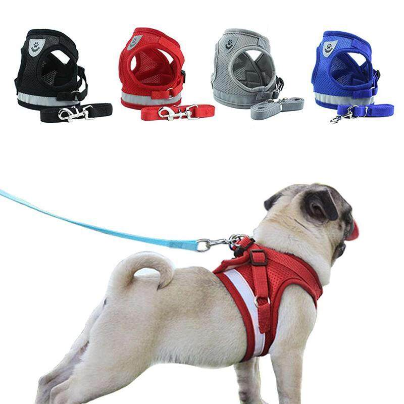 Sentexin Dog Cat Harness Pet Adjustable Reflective Vest Walking Lead Leash For Puppy Polyester Mesh Harness For Small Medium Dog By Sentexin.