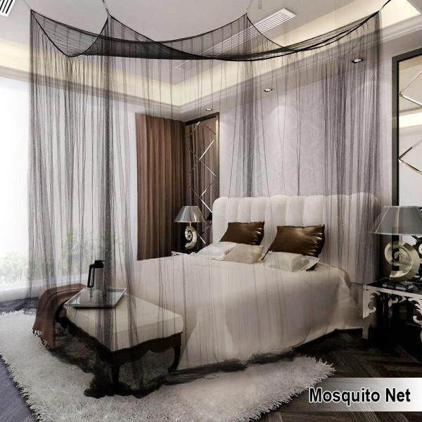 4-Corner Post Bed Canopy Mosquito Net Full Queen King Size Netting Bedding Black