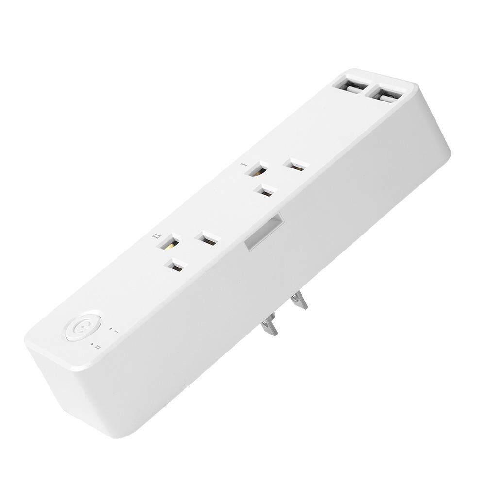 epayst【clearance sale+ready stock】WIFI Thông Minh Ổ Cắm Đôi Nhà Điều Khiển từ xa Chuyển Đổi với 2 CỔNG USB Giao Diện HOA KỲ 110 V-250 V(White)