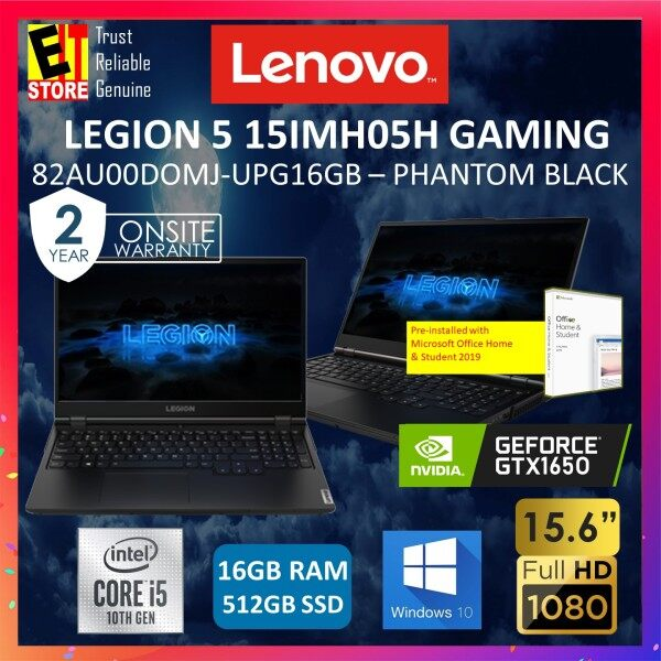 LENOVO LEGION 5i 15IMH05 (82AU00DOMJ-UPG16GB) GAMING LAPTOP (I5-10300H/16GB/512GB SSD/15.6 FHD 144HZ/4G GTX 1650/W10/2YRS PREMIUM /MS.OFFICE 2019 h&s) Malaysia