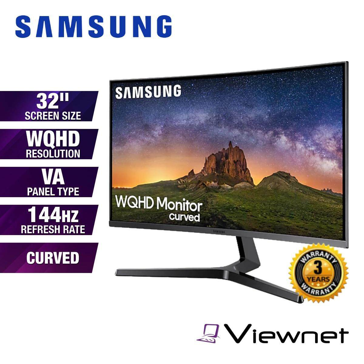 Samsung C32JG50QQE 32 WQHD VA 144Hz 4ms Curved LED Gaming Monitor CJG50 (LC32JG50QQEXXM) HDMI 1.4, HDMI 2.0, DisplayPort 1.2, Headphone Jack, VESA Compatible, Tilt, Eye Saver Mode, Flicker Free, Game Color Mode, Black Equalizer, Low Input Lag Mode Malaysia