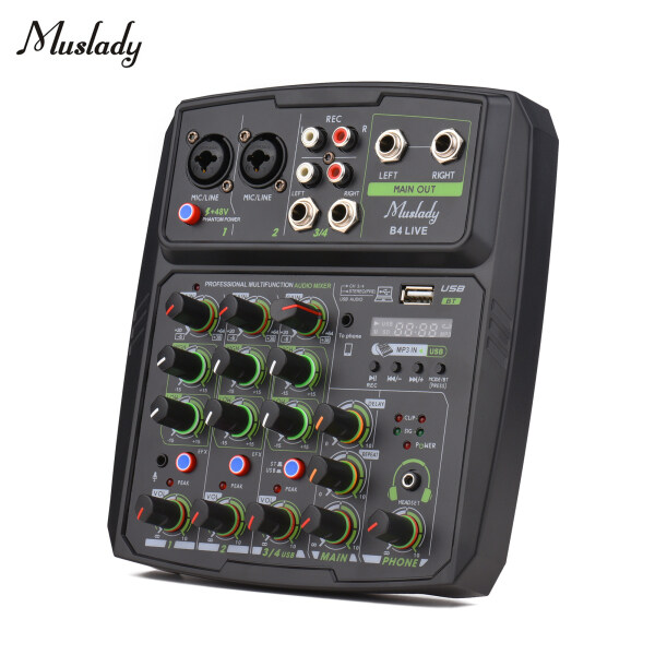 Muslady 4-Channel Audio Mixer Mixing Console LE-D Screen Built-in Soundcard USB BT Connection with 2-band EQ Gain Delay Repeat Control Record Live Broadcast Function with +48V Phantom Power for Live Broadcast Malaysia