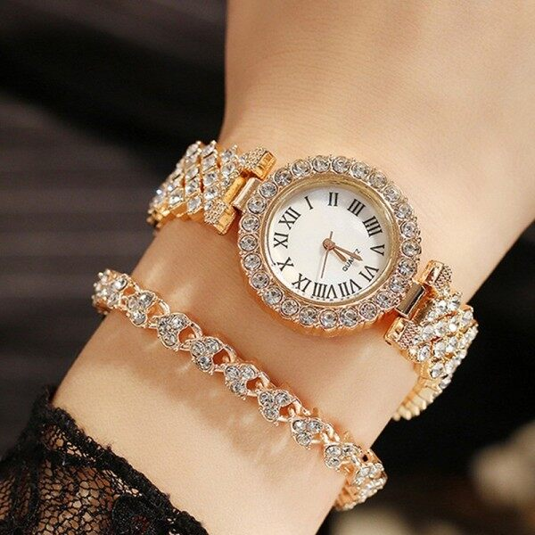 JIMG High Quality Rose Gold Luxury Quartz Watch Ladies Rhinestone Retro Bracelet Watch Set Business International Clock For Women Malaysia