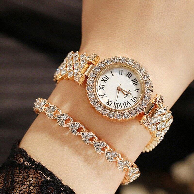 JIMG High Quality Rose Gold Luxury Quartz Watch Ladies Rhinestone Retro Bracelet Watch Set Business International Clock For Women Malaysia
