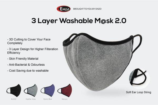 3 Layer Comfortable Soft Cloth Type Face Mask 3-PLY NLK Reusable and Washable Durable (you can contribute for a better Environments without disposing used face mask) come in 5 Colours NOW CAN PRINT COMPANY LOGO