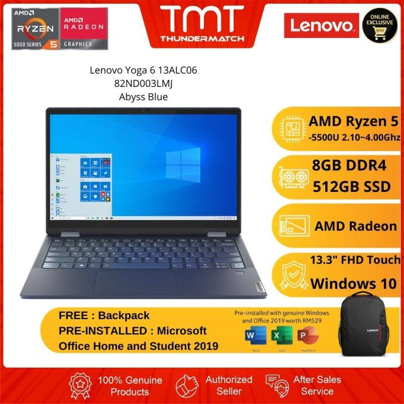 Lenovo Yoga 6 13ALC06 82ND003LMJ Laptop | Ryzen 5 5500U | 8GB RAM 512GB SSD | 13.3 FHD Touch+Pen | W10 | MS OFFICE+BAG Malaysia