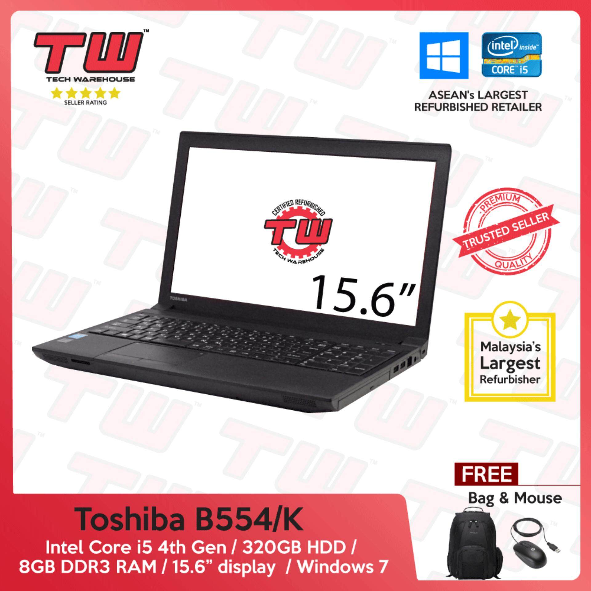 Toshiba Notebook B554/K Core i5 4th Gen 2.50GHz / 8GB RAM / 320GB HDD / Windows 7 Laptop / 3 Month Warranty (Factory Refurbished) Malaysia